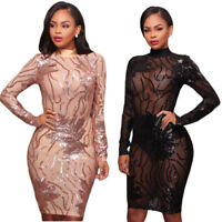 Women Mesh Sequins Perspective Bandage Bodycon Evening Cocktail Club Party Dress