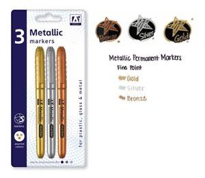 3 Metallic Marker Pens Gold Silver Bronze Paper Card Glass Metal Plastic Xmas