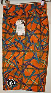 Volcom Boys Anti Plaid Boardshorts, Orange Pop