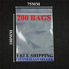 200 Resealable Zip Lock plastic bags 100MM X 75MM + FREE SHIPPING