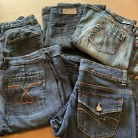 Lot of 6 Size 10 women's denim jeans mixed brands London Lauren DKNY Nine West