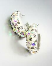 SHIMMERY Chic Alexis Aurora Borealis Crystals White Resin Hoop Earrings