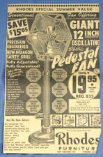 RARE 1956 BOB IRWIN Electric Pedestal Fan Large Newspaper Print Ad