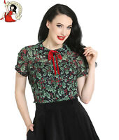 HELL BUNNY HOLLY BERRY BLOUSE christmas XMAS vintage CHIFFON black shirt TOP