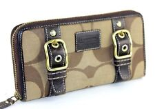 Auth COACH Signature Canvas & Brown Leather Zip Around Bifold Long Wallet Purse