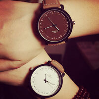 Mens Womens New Perfect Dull Polish Faux Leather Band Quartz Sports Wrist Watch