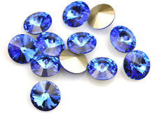 4 Sapphire Swarovski Crystal Foiled 1122 Rivoli Stone 12mm