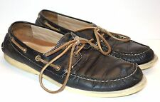 Coach Black Leather 2 Eye Lace Up Loafers Boat Shoes Men's 8 - 8.5