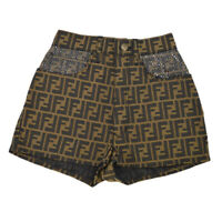 FENDI Zucca Pattern Short Pants Brown Black Italy Polyester Authentic 34917