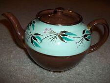Antique Sadler~Staffordshire England~Chocolate/Mint Green Gold Gilt Tea Pot