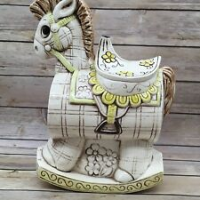 Vintage Treasure Craft Hobby Rocking Horse Collectible Cookie Jar Yellow