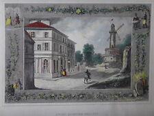 Gravure aquarellée sur acier 1840 ancien quartier Beaujon Paris