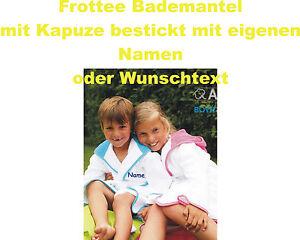 Kinderbademantel mit Kaputze bestickt mit eigenen Namen oder Text
