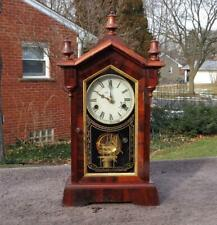 Antique Jerome & Co. Roeswood Cottage Shelf Mantle Clock Reverse Painted Glass