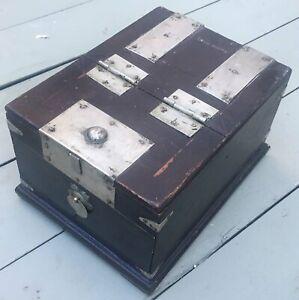 "Antique English Ebonized Wood Silver Banded Chinoiserie Shaving Dresser Box 10"""