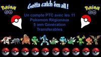 1 compte PTC avec les 11 régionaux de la Gem 5 pokemon Go