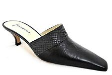 GLAMOUR FOR WOMAN LADIES BLACK LEATHER HEELS CASUAL SLIP-ON SHOES UK 3 - EUR 36