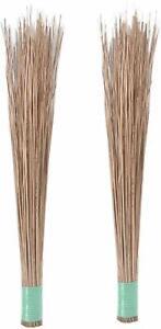 New Natural Coconut Leaf Grass Broom Stick Bamboo Nariyal Jhadu - Set Of 2