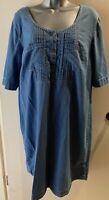 BPC Blue Chambray Short Sleeve Tunic Dress Size 18 Pintuck Front