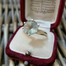 STERLING SILVER RING, GREEN PREHNITE, SOLITAIRE GEMSTONE, SIZE P½