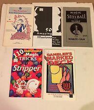 5 New Magic Trick Instruction Books Lot Prop shop Stripper Marked Steel Ball 50