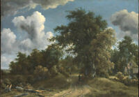Oil painting Meindert Hobbema - Woodland Road beautiful landscape hand painted %