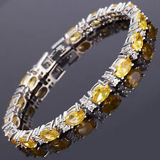 Xmas Oval Cut Yellow Citrine Fine Topaz 18K White Gold Plated Tennis Bracelet