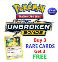 Pokemon SM10 Unbroken Bonds RARE cards **BUY 3 CARDS GET 3 FREE** MINT