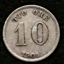1904 SWEDEN SILVER 10 ORE FOREIGN COIN
