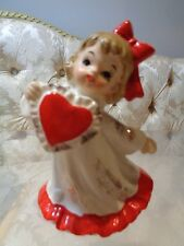 Vintage Lefton Valentine girll holding a large heart figurine #376