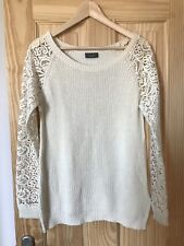 C&A Off White Knitted Sweater Jumper With Crochet Sleeves S