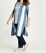 Plus Size Ladies Tie Dye Blue & Off White Soft Longline Cardigan  Size 18