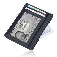 RFID Blocking Genuine Leather Minimalist Wallet ID Credit Card Holder Money Clip