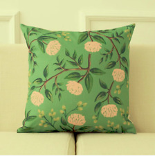 Square Floral Pillows Case Cotton Linen Cushion Cover Sofa Car Home Decor Green