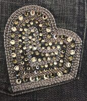 Juicy Couture Jeans Heart Crystals Rear Pocket Size 32W 34L USA