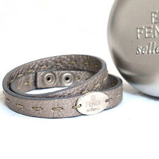 Auth Fendi Selleria Gray Leather Double Bracelet Silvertone Metal Good in Case
