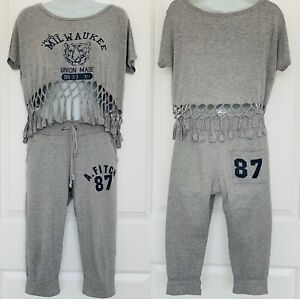 A. Fitch 87 Grey Knee Length Sweatpants & Grey T Shirt Top Women's S/M Loose Fit