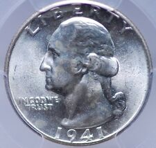 1941 S WASHINGTON QUARTER PCGS MS 64 ALL WHITE & LOOKS BETTER BUT FAINT SPOTTING