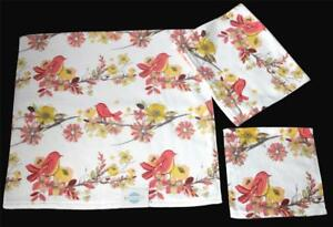 3 Serendipity Yellow Coral Floral Birds Velour Bath Hand Towels Wash Cloth NWT