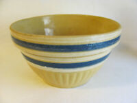 Vintage Yellow Ware Blue & White Striped Mixing Bowl