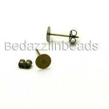 40 Antique Bronze Flat Pad Stud Earring Findings With 6mm Round Setting & Backs