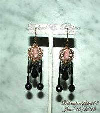 VINTAGE DECO CZECH CAMEO VICTORIAN STYLE ARTISAN HANGING JET FRINGES EARRINGS
