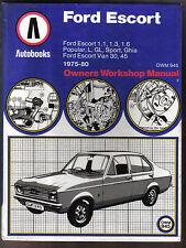 FORD ESCORT 1975-1980 auto & VAN modelli autobooks Proprietari Manuale di Officina