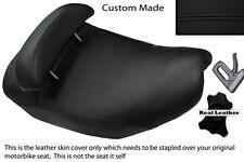 Negro Stitch Custom encaja Piaggio Hexagon 125 Doble Cuero Funda De Asiento