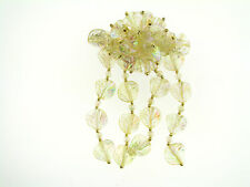 Vintage NOS Pale Yellow AB Coated Lucite Leaf Multi Dangle Hair Clip Barette
