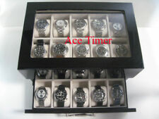 Case Fits Up to 60mm + Cloth 20 Watch (Premium) Glass Top Black Lacquer Display
