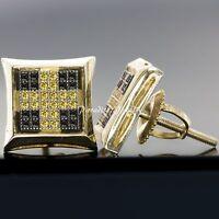Men's Genuine Black & Yellow 0.28 CTW Diamond 14K Gold Finish Stud Earrings