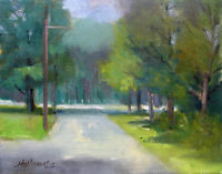 "Vestal New York Summer Trees 11""x14"" Original Oil on canvas By HALL GROAT II"