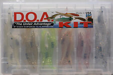 "18PC DOA 3"" SHRIMP LURE KIT IN COMPARTMENTED PLASTIC TACKLE BOX"