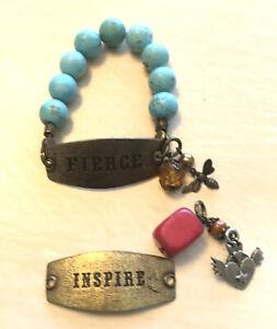 Lenny and Eva Sentiment Turquoise Inspire Fierce Heart Bee Charms Bracelet Set